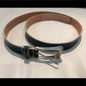Furla black leather and white stitching belt